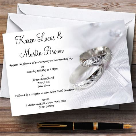 Personalised Wedding Invitations by White And Silver Rings Personalised Wedding