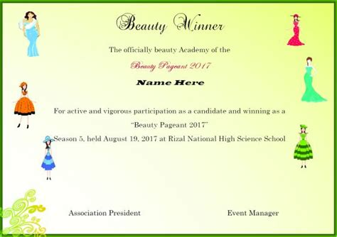 pageant certificate template winner certificate template 40 word templates for