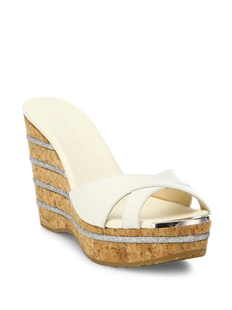 Mossimo Parry Patent Cork Slide Wedges by Lyst Jimmy Choo Perfume 120 Leather Cork Wedge Slides In