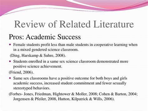 About Review Of Related Literature by Ppt Single Classrooms Vs Mixed Gender Classrooms The Effects On Peer Relations And