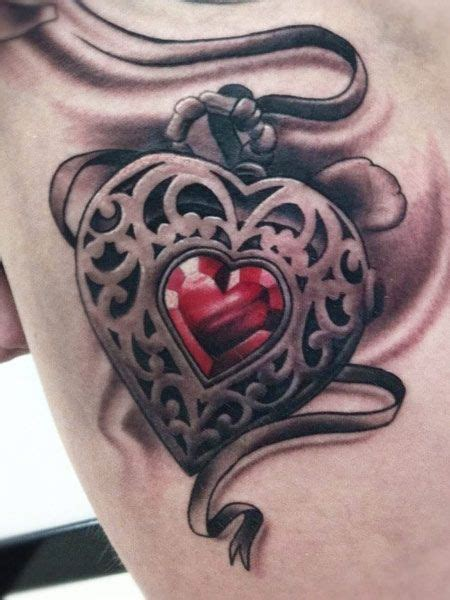 locket heart 3d heart tattoo