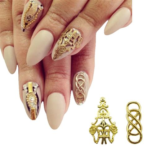 Nail Decorations by Aliexpress Buy 10pcs Alloy Nail Gold 3d Nails