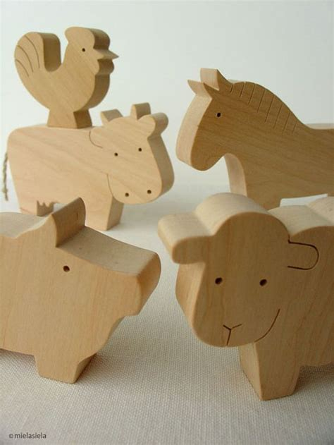 Handcrafted Wooden Animals - barnyard farm animals farm animal set waldorf wooden