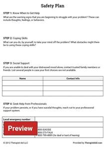 safety plan template safety plan worksheet therapist aid