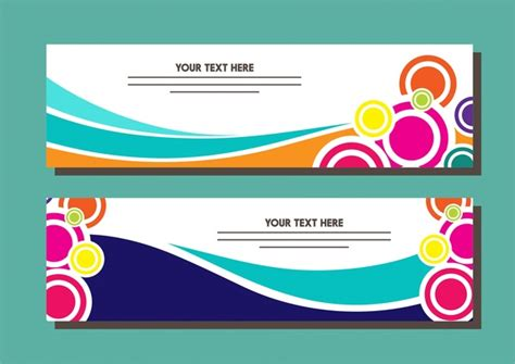 design large banner in illustrator banner design sets colorful circles and curves style free