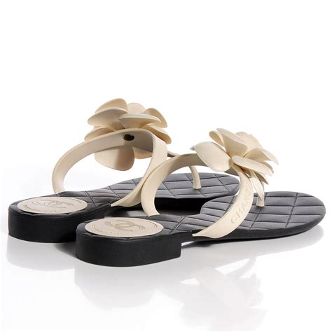 chanel jelly sandals chanel jelly quilted camellia sandals 40 black white