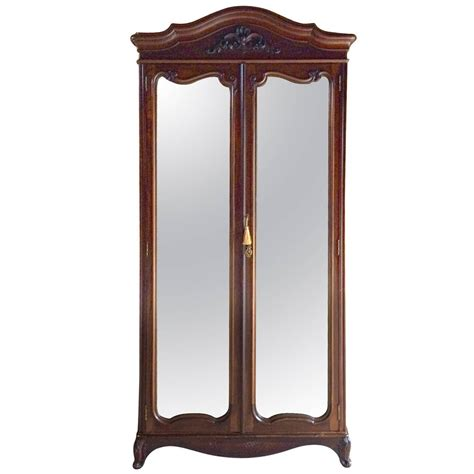 armoire with mirror doors antique double wardrobe armoire two door mirrored walnut