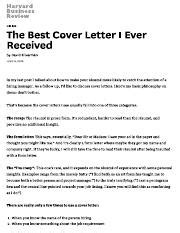 best cover letter received the best cover letter i received the writer of this