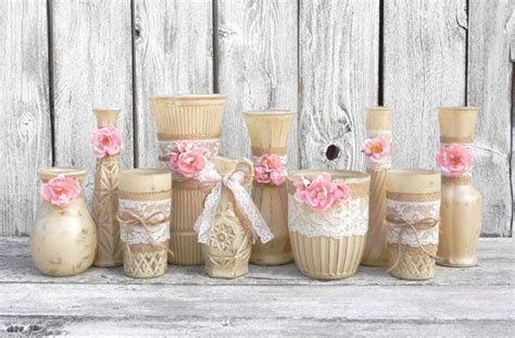 burlap and lace vases rustic beige and pink wedding