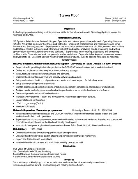 cv templates for it professionals sle resume for experienced it professional sle