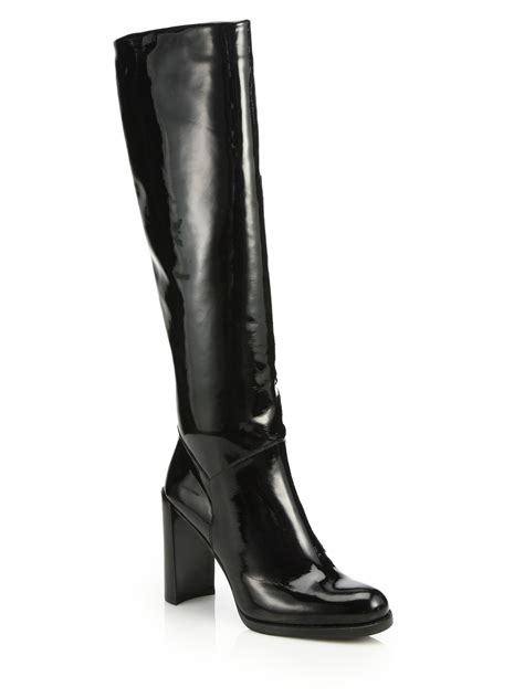 stuart weitzman patent leather knee high boots in black lyst