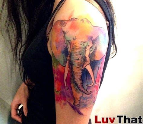 colorful elephant tattoo on shoulder 27 cool designer elephant shoulder tattoos