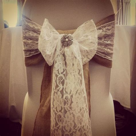 wedding chair bows lace rustic vintage themed wedding chair covers with hessian