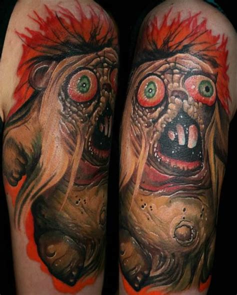 a horror bear gets a gory and colorful life on skin in