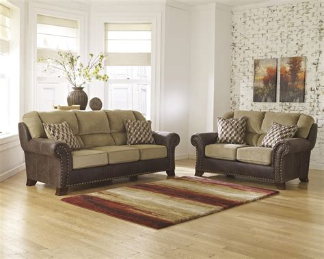 schulz upholstery benchcraft vandive 4430038 two tone sofa with chenille