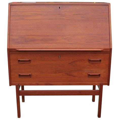 wonderful teak drop front desk for sale at 1stdibs