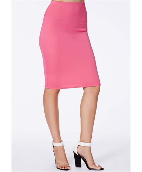 missguided pink scuba midi skirt in pink lyst