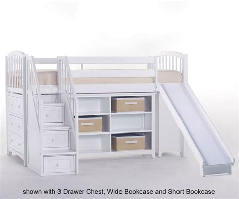 Junior Loft Bed With Slide by School House Junior Low Loft Bed With Stairs And Slide