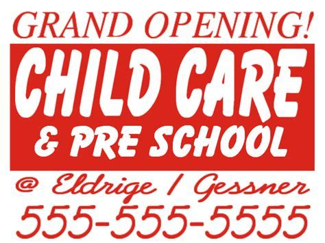 sign layout day care,day care designs,day care yard sign