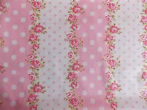 rose floral spot100 cotton fabric shabby chic vintage retro p metre pink no 5
