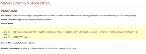 parser 171 web c parser error could not load type stack overflow