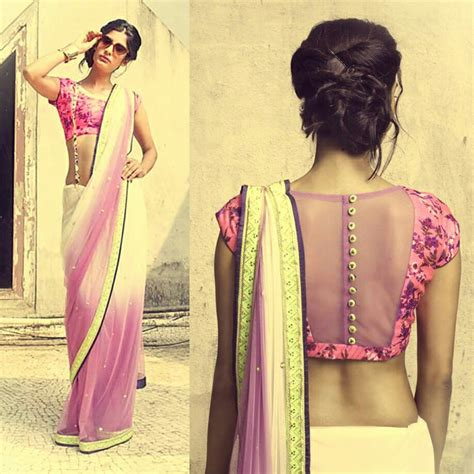 pink pattern blouse pretty white and pink saree or sari with blouse love the