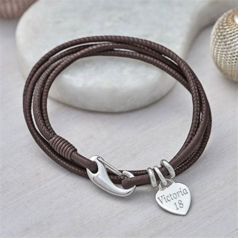 leather wrap bracelet with charms personalised sterling silver charm and leather wrap bracelet hurleyburley