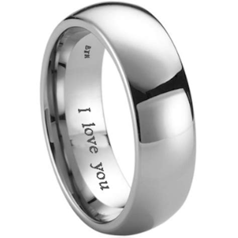 mens titanium wedding engagement engraved  love  band