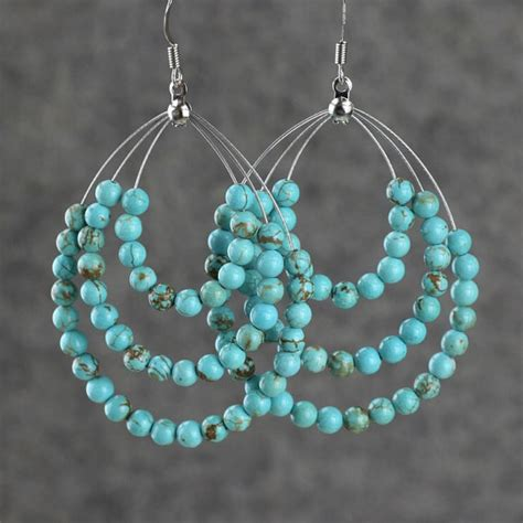 Handmade Turquoise Earrings - hoop earrings are handmade using turquoise pictures