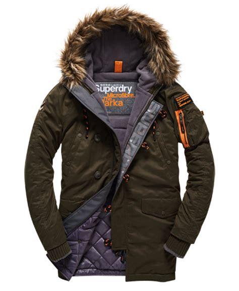 Parka Army Six Pocket mens microfibre parka coat in army superdry