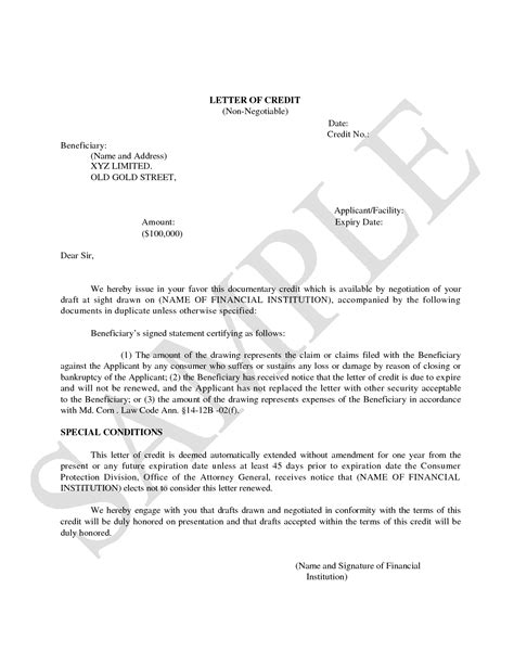 Insurance Letter Of Credit best of standby letter of credit cover letter exles