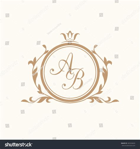 Elegant Floral Monogram Design Template One Stock Vector 365034620 Shutterstock Wedding Logo Design Template