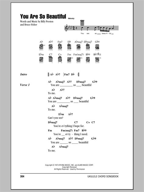 strumming pattern for you re so vain you are so beautiful sheet music by joe cocker ukulele