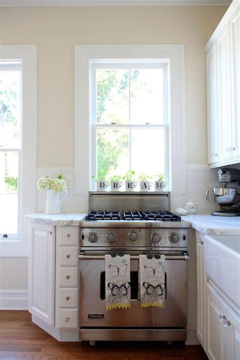 stove window transitional kitchen valspar