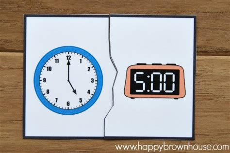 printable clock puzzle clock puzzles busy bag happy brown house