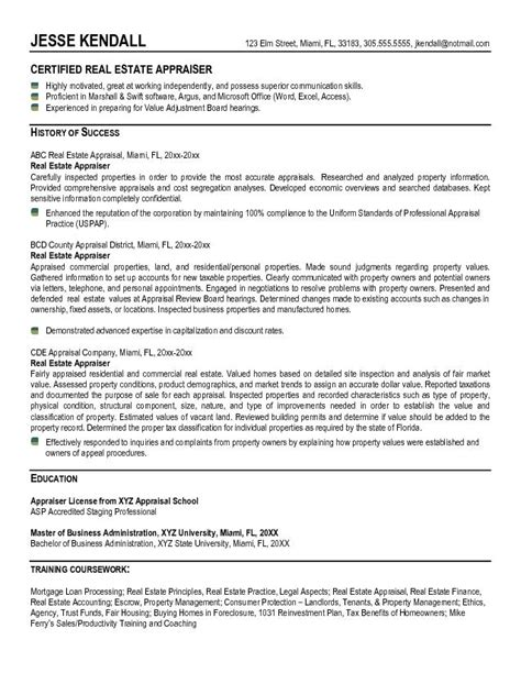 appraiser resume exle real estate appraiser resume