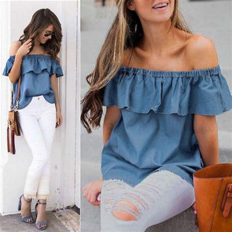 Sale Summer Denim Blouse 2017 summer vintage shoulder ruffles sleeveless denim tops blouse casual shirt