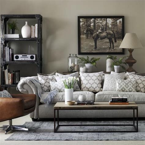 Grey Sofa Living Room Design Grey Living Room With Chesterfield Sofa And Industrial Style Shelving Grey Living Room Ideas