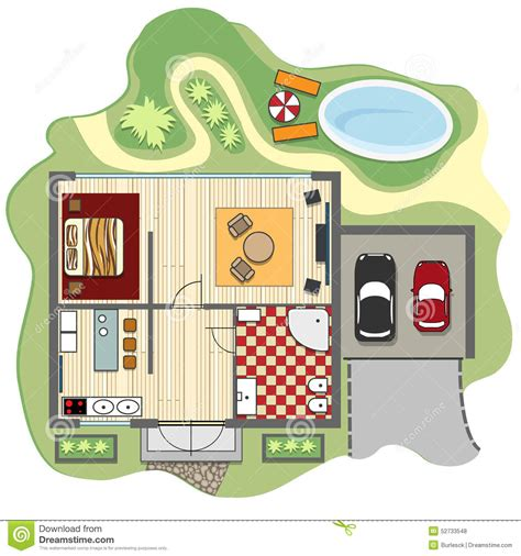 furniture clipart for floor plans floor plan of house stock vector image 52733548