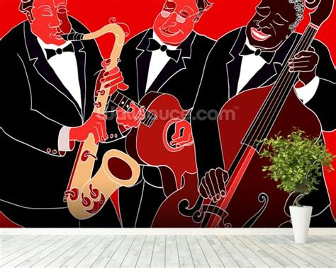 jazz wallpaper for walls jazz band trio wallpaper wall mural wallsauce