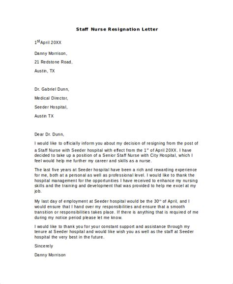Resignation Letter Format For Staff Nurses Sle Nursing Resignation Letter 6 Documents In Pdf Word