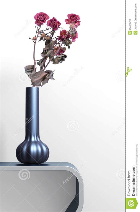 Vase On Table by Vase With Drying Roses On Glossy Table Royalty Free Stock