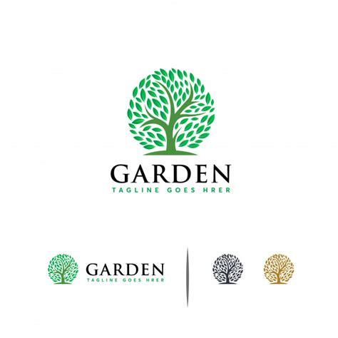 green garden logo template vector premium