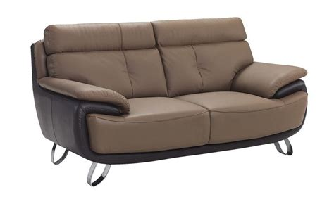 Contemporary Tan / Brown Bonded Leather Loveseat Prime