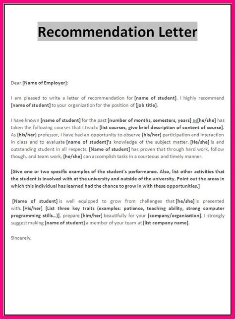 employer recommendation letter recommendation letter from