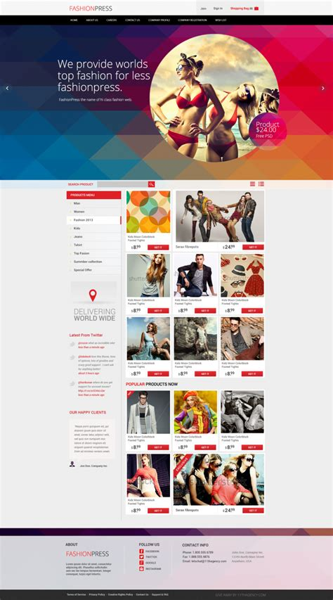 Clothing Brand Website Template Fashion Brand Website Template Psd Download Download Psd