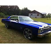 BLUE CANDY PAINTED CHEVY DONK ON 28S  Big Rims Custom Wheels