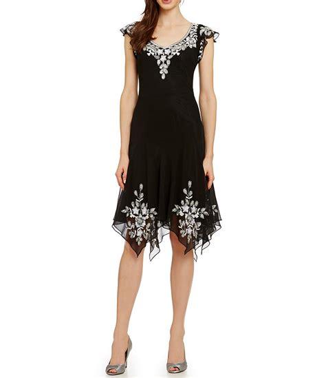cap sleeve bead dress jkara cap sleeve beaded dress dillards