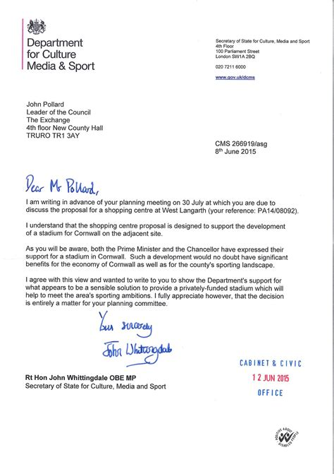 Support Letter Government A Lanson Boy Government Minister Urges Cornwall Council To Grant Planning Permission To
