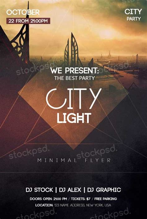 Download City Light Free Psd Flyer Template For Photoshop Lights Flyer Template